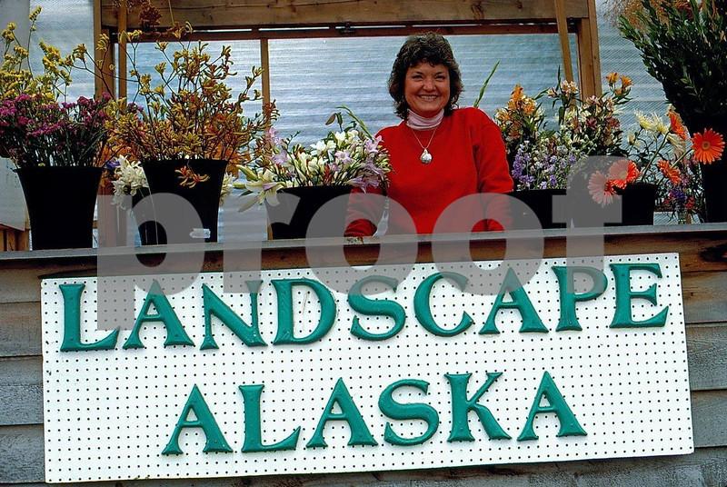 Flower stand in downtown Juneau, Alaska
