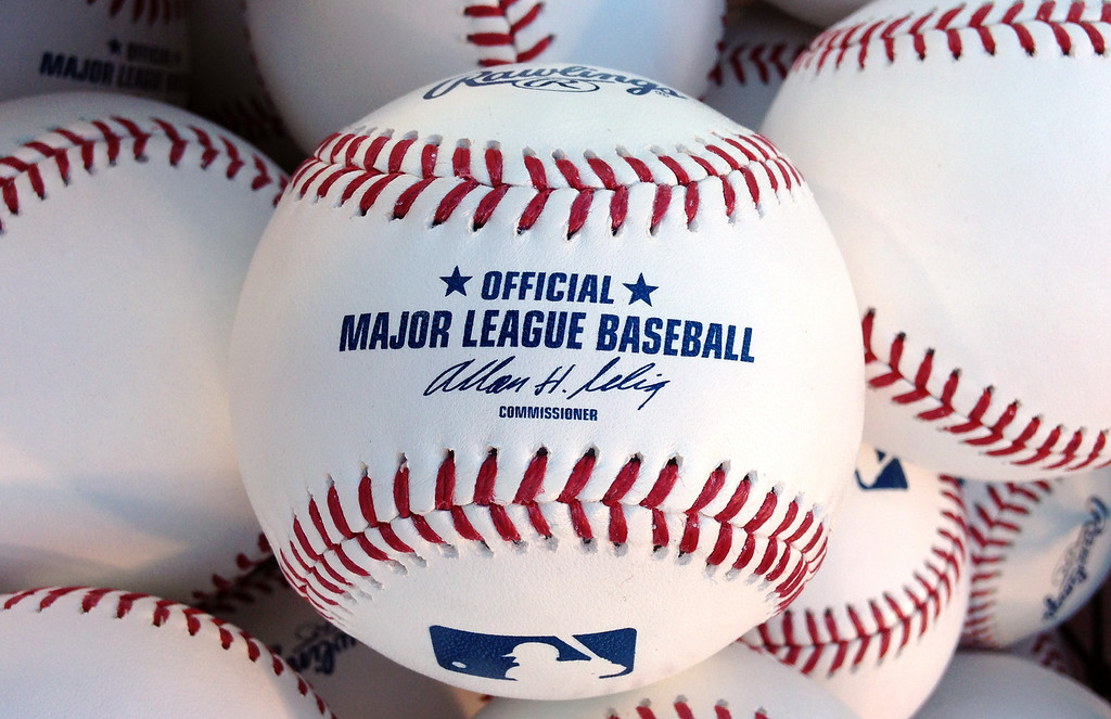 . Major League baseballs with outgoing Commissioner Bud Selig  signature prior to a baseball game between the Miami Marlins and Los Angeles Angels at Anaheim Stadium in Anaheim, Calif., on Wednesday, Aug. 27, 2014.  (Photo by Keith Birmingham/ Pasadena Star-News)