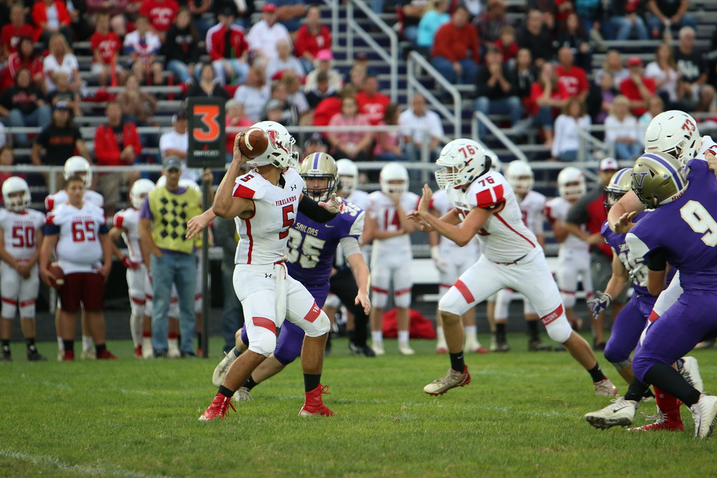 . Kyle Sooy - The Morning Journal<br> Firelands quarterback Blake Ruffner passes against Vermilion on Sept. 7.