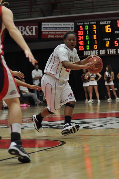 Mayhana Dunovant drives the ball against Liberty University on February 23, 2013.