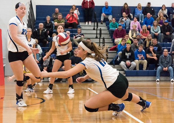 10/30/18 Wesley Bunnell | Staff Southington girls volleyball was defeated 15-10 in the 5th set by Farmington in a 2nd round CCC Tournament game on Tuesday night at Southington High School. Brooke Cooney (17).