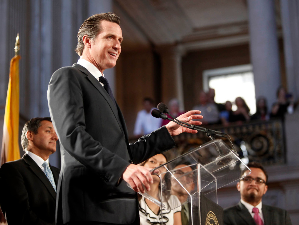 . Lt. Gov. Gavin Newsom addresses a celebration inside San Francisco City Hall after the Supreme Court overturned Proposition 8 Wednesday morning, June 26, 2013 in San Francisco, Calif. Newsom was mayor nine years ago when same-sex marriages were first issued. (Karl Mondon/Bay Area News Group)