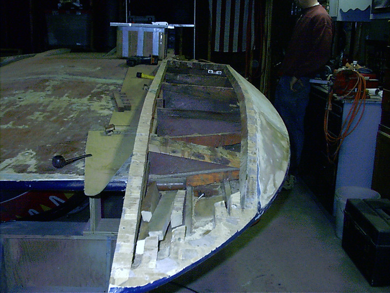 Starboard sponson with bottom skin and battens removed.