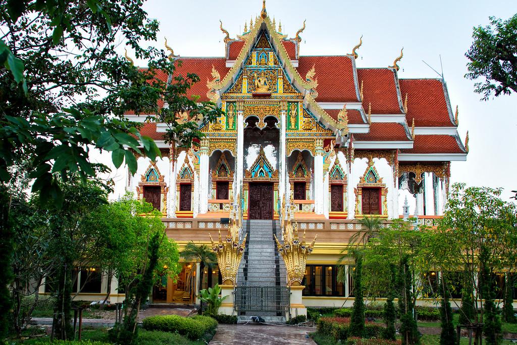 Naga decorated temple at Wat Phra That Bang Phuan, Nong Khai, Thailand