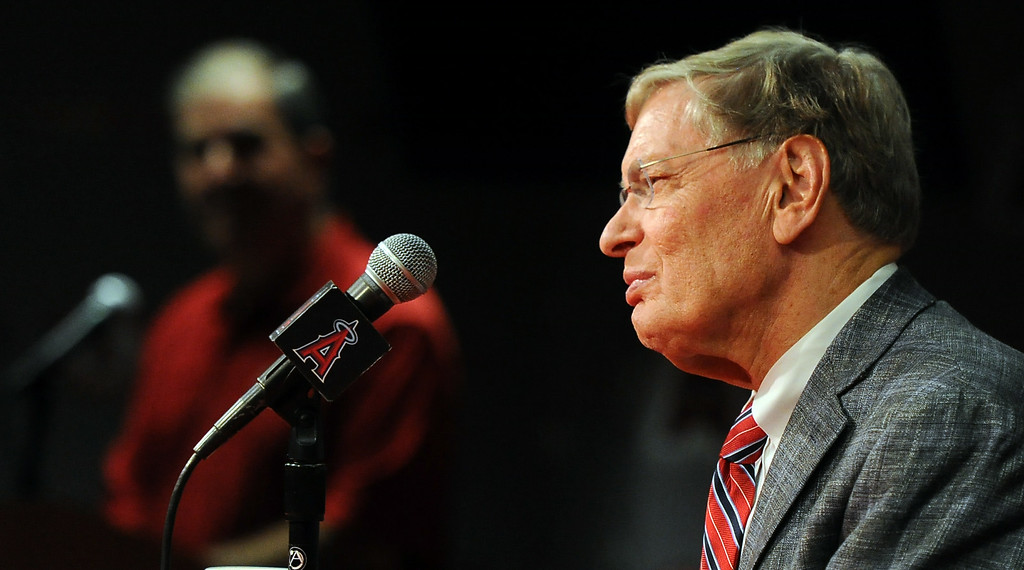 . Commissioner Bud Selig talks to the media during a press conference about his retirement and state of major league baseball prior to a baseball game between the Miami Marlins and Los Angeles Angels at Anaheim Stadium in Anaheim, Calif., on Wednesday, Aug. 27, 2014.  (Photo by Keith Birmingham/ Pasadena Star-News)