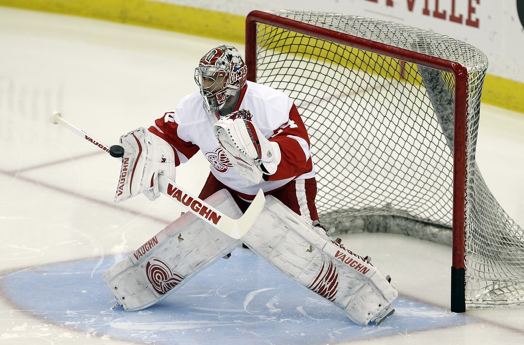 . Detroit Red Wings goalie Petr Mrazek, of the Czech Republic, before Game 7 of a first-round NHL Stanley Cup hockey playoff series against the Tampa Bay Lightning Wednesday, April 29, 2015, in Tampa, Fla. (AP Photo/Chris O\'Meara)