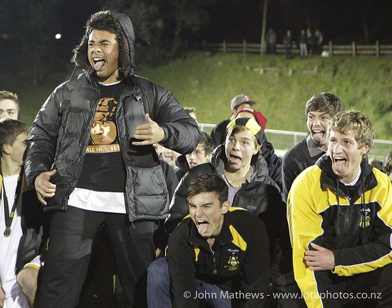 Wellington College supporters perform a haka at the Wellington Boys Youth Championship Premier Football Final (Trevor Rigby Cup)  between Wellington College and Rongatai College played at Wellington College, Wellington, New Zealand on 23 August 2012. Photo: john.mathews @xtra.co.nz