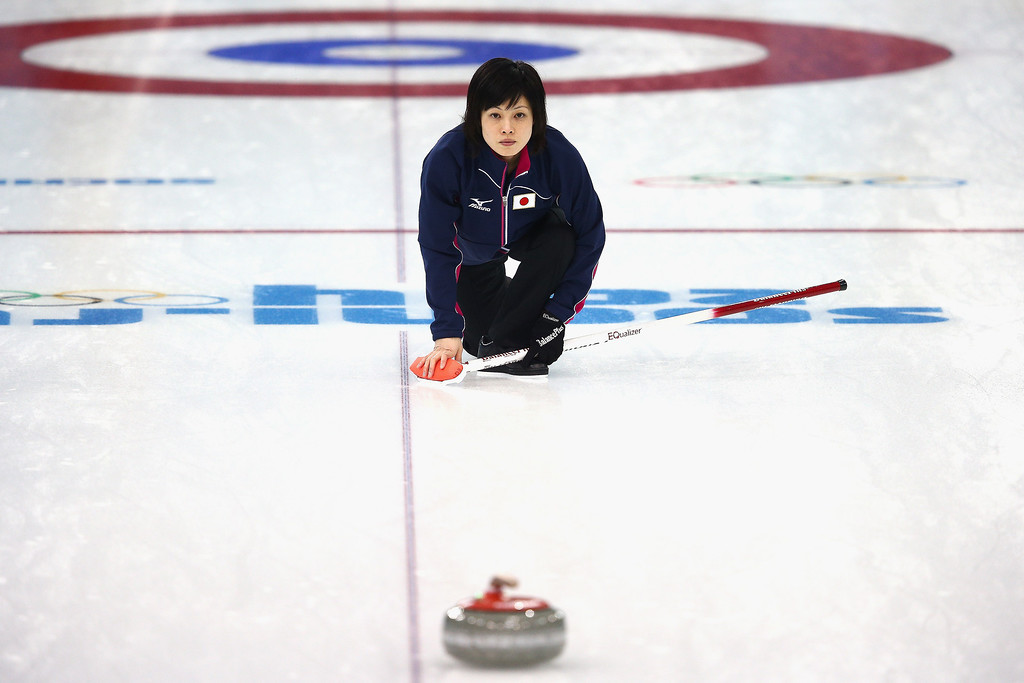 . Yumie Funayama of Japan in action during a training session during day 3 of the Sochi 2014 Winter Olympics at Ice Cube Curling Center on February 10, 2014 in Sochi, Russia.  (Photo by Clive Mason/Getty Images)