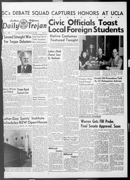 Daily Trojan, Vol. 45, No. 74, February 16, 1954