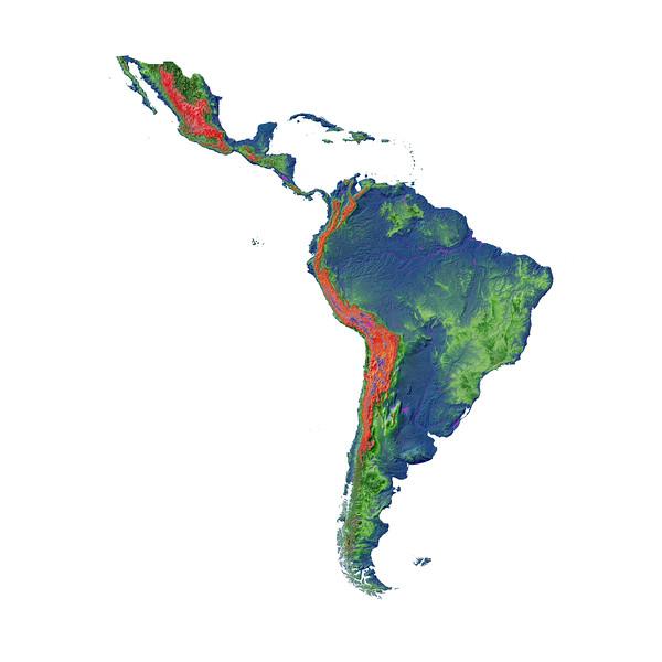 Elevation map of Latin America