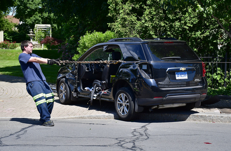 6/27/2019 Mike Orazzi | Staff The scene of a single vehicle crash in downtown Southington Thursday afternoon in front the Barnes Museum.