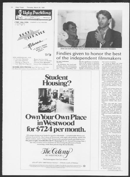 Daily Trojan, Vol. 98, No. 53, March 28, 1985