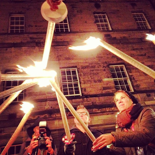 We make fire. Beeswax and burlap torch lighting, #Hogmanay procession #Edinburgh #blogmanay