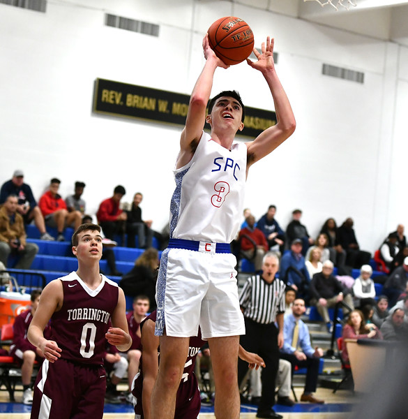 2/4/2020 Mike Orazzi | Staff St. Paul's Will Barton (3) during Tuesday night's boys basketball game with Torrington in Bristol.