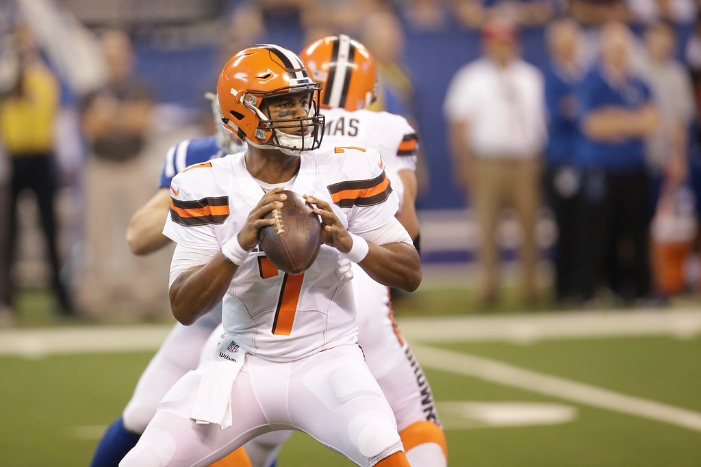. Cleveland Browns quarterback DeShone Kizer (7) during the first half of an NFL football game against the Indianapolis Colts in Indianapolis, Sunday, Sept. 24, 2017. (AP Photo/AJ Mast)