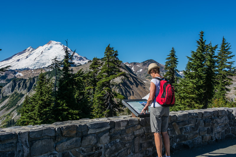 Artist Point is located at the very end of Mount Baker Highway, State Route 542 and boasts 360-degree views of  Mount Baker, as well as access to a variety of trails. The road to Artist Point, 2.7 miles long (milepost 54.55 to 57.26) and more than 5,000 feet above sea level, is typically buried under snow and closed October through June.