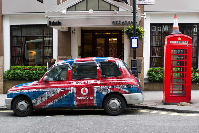 London taxi and phone booth