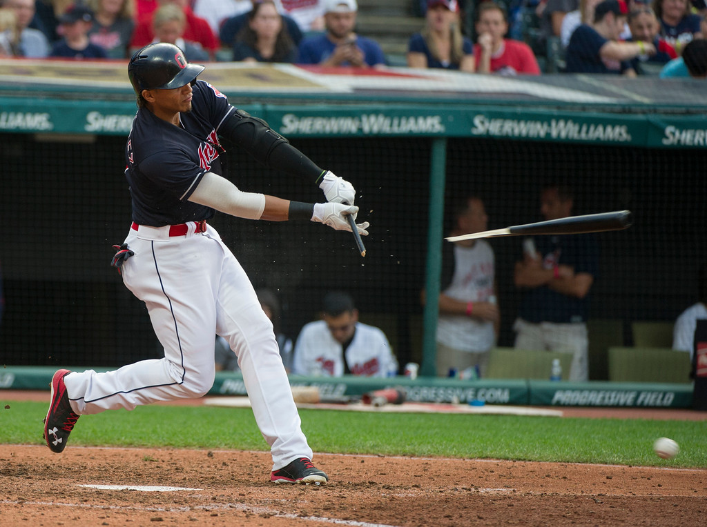 . Cleveland Indians\' Erik Gonzalez hits a broken bat fielders choice off Kansas City Royals relief pitcher Kevin McCarthy during the sixth inning of a baseball game in Cleveland, Saturday, Sept. 16, 2017. (AP Photo/Phil Long)