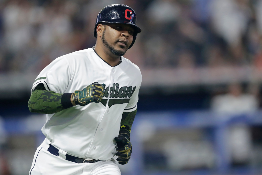 . Cleveland Indians\' Edwin Encarnacion runs the bases after hitting a two-run home run off Houston Astros starting pitcher Lance McCullers Jr. during the fifth inning of a baseball game Saturday, May 26, 2018, in Cleveland. (AP Photo/Tony Dejak)
