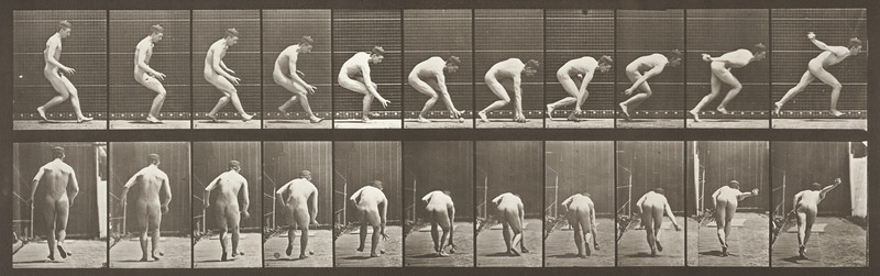 Nude man running and picking up the ball (Animal Locomotion, 1887, plate 287)