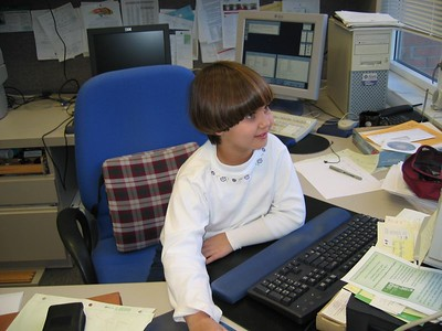 Anna with Office Computer, July 2005