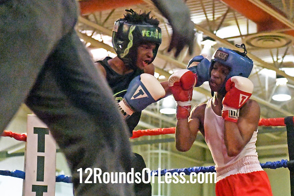 Bout #6:  Abdur Rahman Mason, Red Gloves, Kingdom Fitness  vs  Brishaun Jackson, Blue Gloves, DNA Level C BC  -  119 lb. Junior Division Champtionship