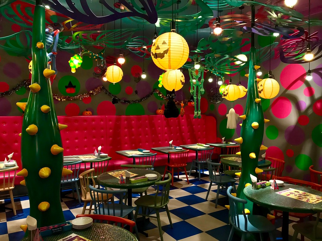 One of the dining spaces at the Kawaii Monster Cafe during the lead-up to Halloween.