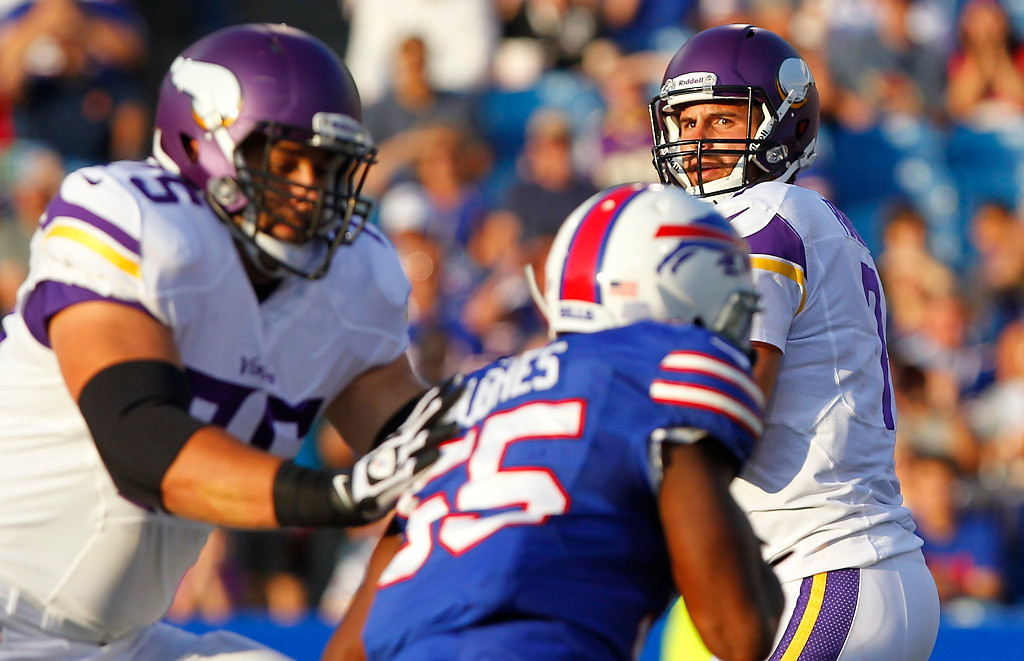 . Minnesota Vikings quarterback Christian Ponder  looks to pass during the first half of an NFL preseason football game against the Buffalo Bills Friday, Aug. 16, 2013, in Orchard Park, N.Y.  (AP Photo/Bill Wippert)