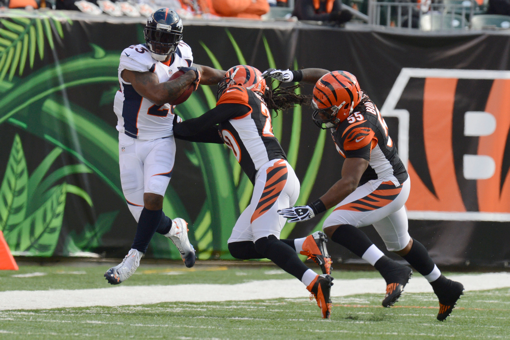 . Denver Broncos running back Willis McGahee #23 gets shoved out of bound by Cincinnati Bengals free safety Reggie Nelson #20 after a short gain during the second quarter at Paul Brown Stadium in Cincinnati, Ohio November 4th, 2012.      Joe Amon, The Denver Post