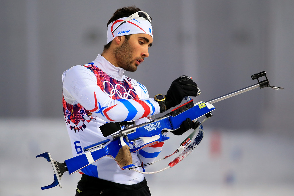 . SOCHI, RUSSIA - FEBRUARY 10:  Martin Fourcade of France practices ahead of the Men\'s 12.5 km Pursuit during day three of the Sochi 2014 Winter Olympics at Laura Cross-country Ski & Biathlon Center on February 10, 2014 in Sochi, Russia.  (Photo by Richard Heathcote/Getty Images)