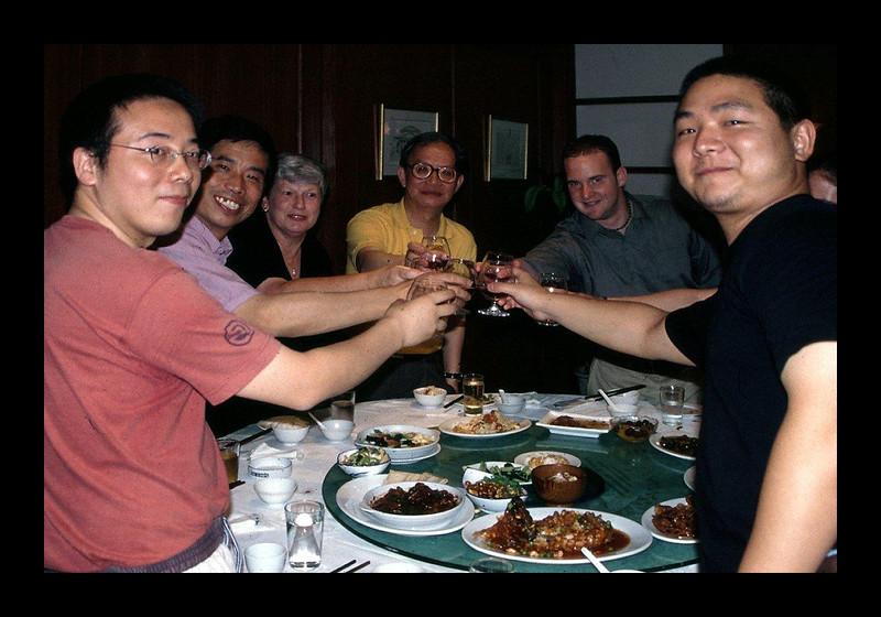 Tongji Banquetwith Wang Fangji, Wang Bowei, Chelle, Zheng Shiling, Matt Niermann and Li Xiangning - 2002.jpg