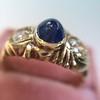 1.75ctw Cab Sapphire and Old European Cut Diamond 3-stone Ring 6