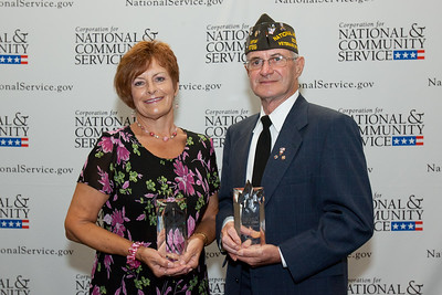 Vicky Bostick accepting on behalf of Norman Muller (RSVP) & VFW Post (RSVP) Daniel Joergensen. Corporation for National and Community Service Photo.