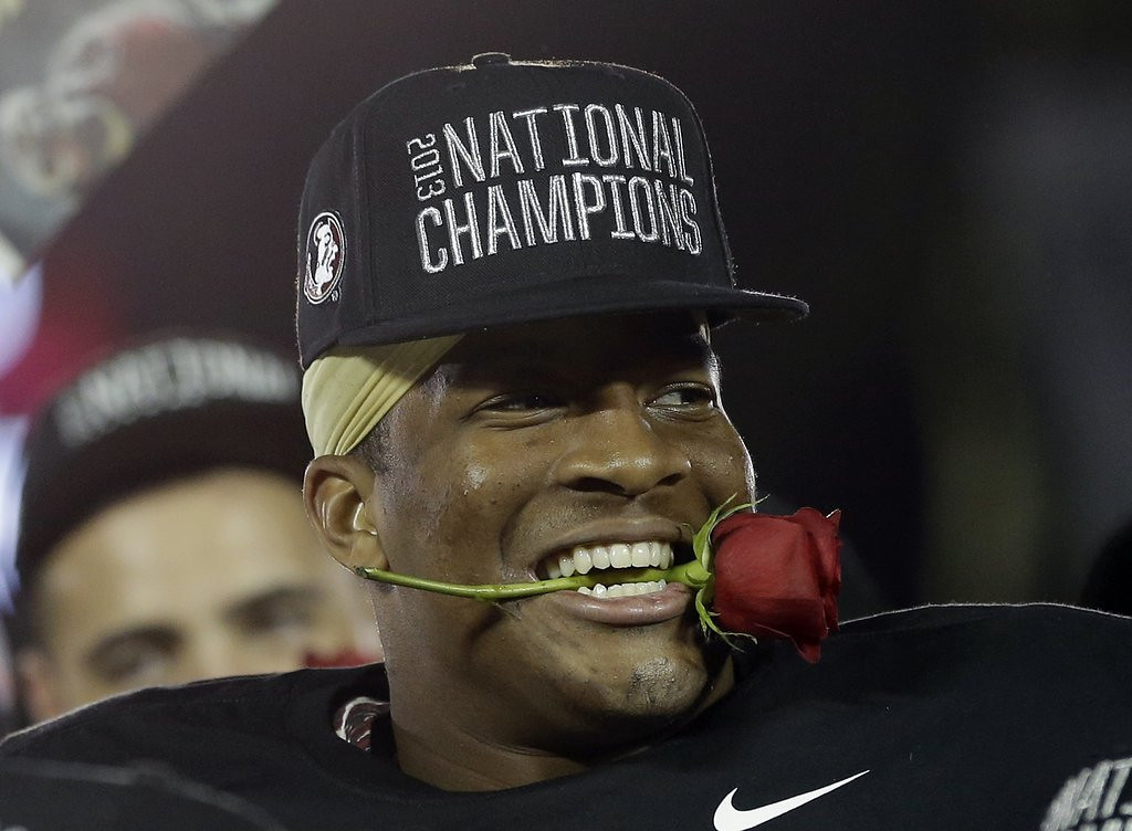 """. <p><b> Heisman Trophy winner Jameis Winston raised eyebrows last week when he was cited for � </b> <p> A. Shoplifting <p> B. Crabshopping <p> C. Crablifting <p><b><a href=\'http://www.twincities.com/sports/ci_25674798/jameis-winston-its-time-stop-laughing-off-heisman\' target=\""""_blank\""""> LINK </a></b> <p>    (AP Photo/David J. Phillip)"""