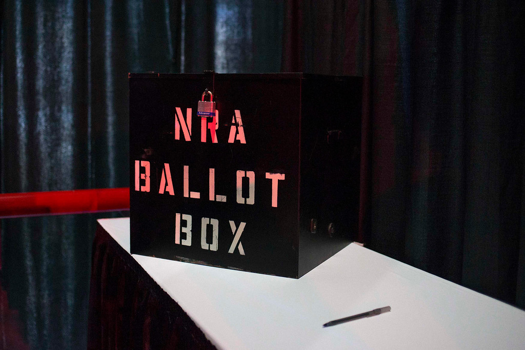 . A NRA ballot box is seen inside a voting booth during the National Rifle Association\'s Annual Meeting of Members in Houston, Texas on May 4, 2013. Organizers expect some 70,000 attendees at the 142nd NRA Annual Meetings & Exhibits in Houston, which began on Friday and continues through Sunday. REUTERS/Adrees Latif
