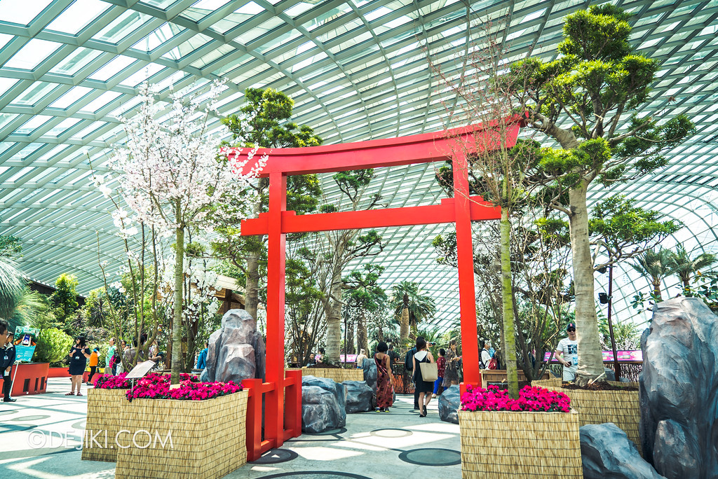 Gardens by the Bay - Sakura Matsuri 2018 floral display - entrance tori gate