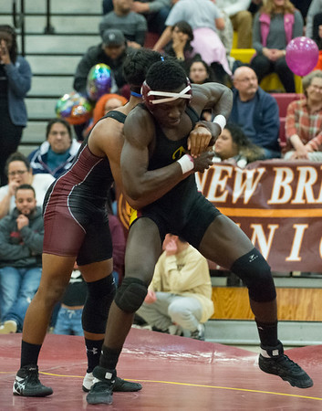 01/29/20 Wesley Bunnell | StaffrrNew Britain wrestling defeated Farmington on Senior Night on Wednesday January 29, 2020. Andy Menshah wrestles at 160lbs.