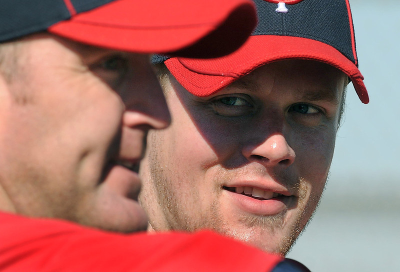 . Twins first baseman Justin Morneau, right, spent time with his mentor, Jim Thome, on his first day participating in spring training drills at the Lee County Sports Complex in Ft. Myers, Fla. on Thursday February 25, 2010. (Pioneer Press: Richard Marshall)
