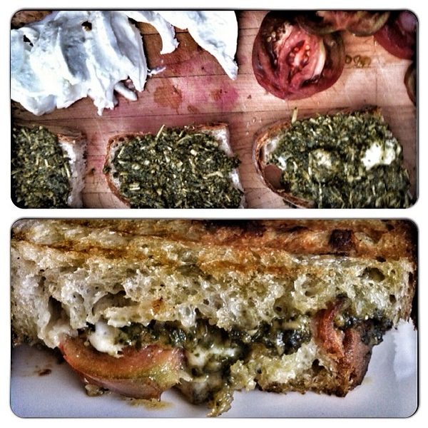 On the table this afternoon: #basil #pesto, #mozzarella and #tomato #panini #foodie #food #jux #cureforwinter