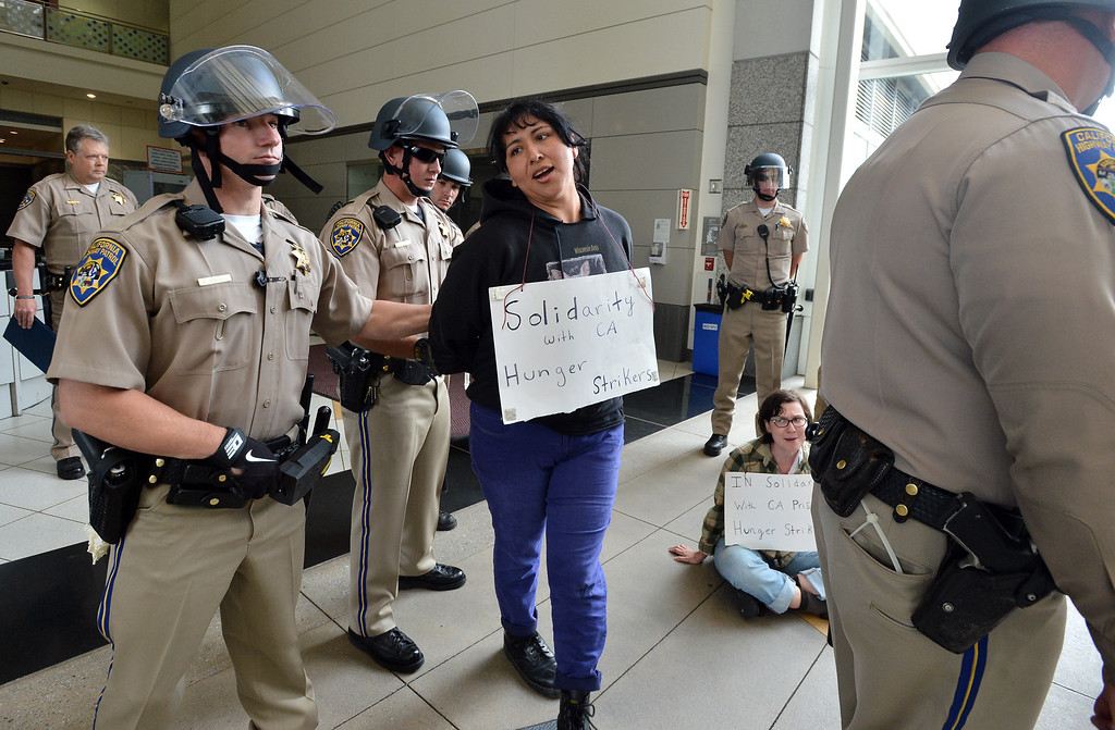 . A protester is escorted from the lobby of the Elihu Harris State Building in downtown Oakland, Calif. on Monday, Aug. 5, 2013. Seven protesters were led from the scene in riot cuffs after staging a protest in solidarity with hunger strikers in California prisons. (Kristopher Skinner/Bay Area News Group)