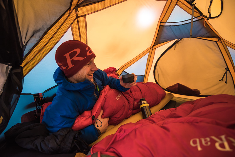 Stuart Johnston, tent bound in a storm, East Greenland
