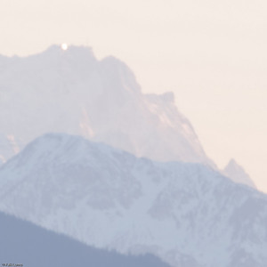 """Zugspitze III"" © Falk Lumo 2010 -- Stacked (10 images). Zugspitze (2962 m; 9718 Ft; Germany's highest mountain) at sunset. Shot from village Aying (83.39 km; 52 miles away)."