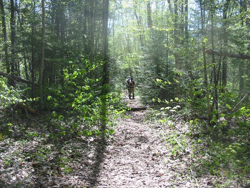 Heading down the trail