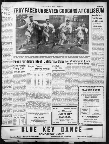 Daily Trojan, Vol. 34, No. 21, October 16, 1942