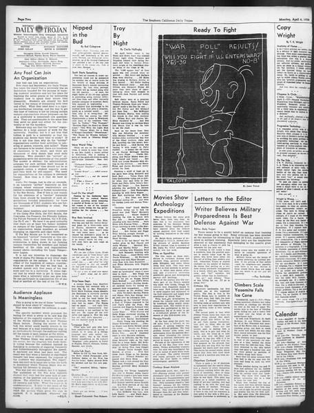 Daily Trojan, Vol. 29, No. 112, April 04, 1938