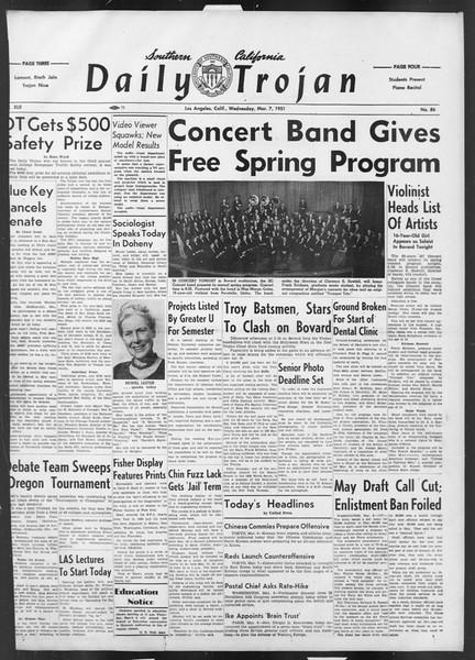 Daily Trojan, Vol. 42, No. 86, March 07, 1951