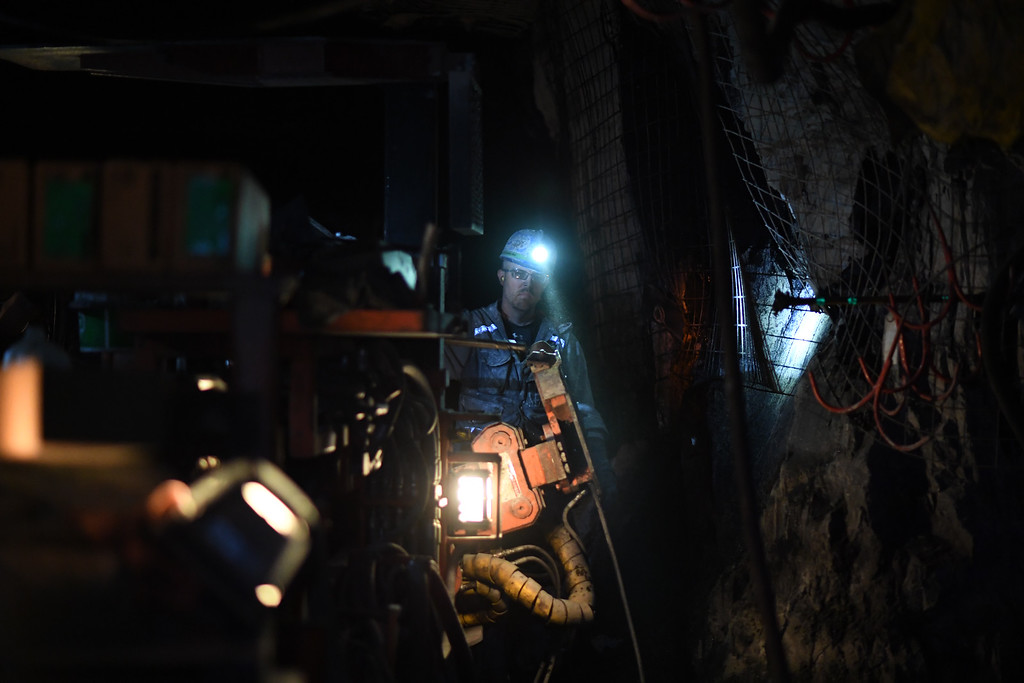 . Brian Kellerey works underground at the West Elk Mine in Somerset Colorado, April 28, 2016. The coal mine is the last coal mine still operating in the area. Two other mines near Somerset recently closed. (Photo by RJ Sangosti/The Denver Post)