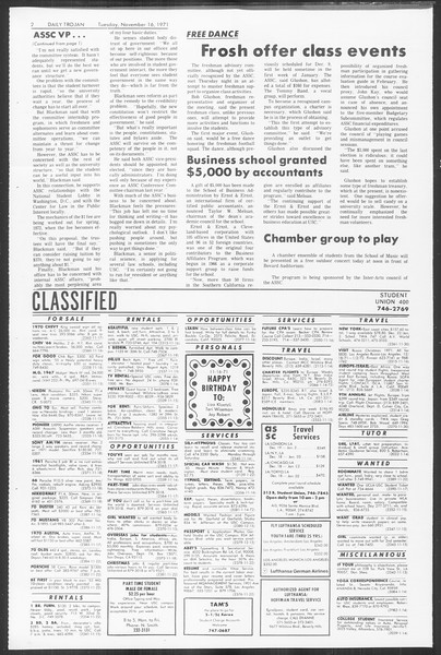 Daily Trojan, Vol. 64, No. 39, November 16, 1971