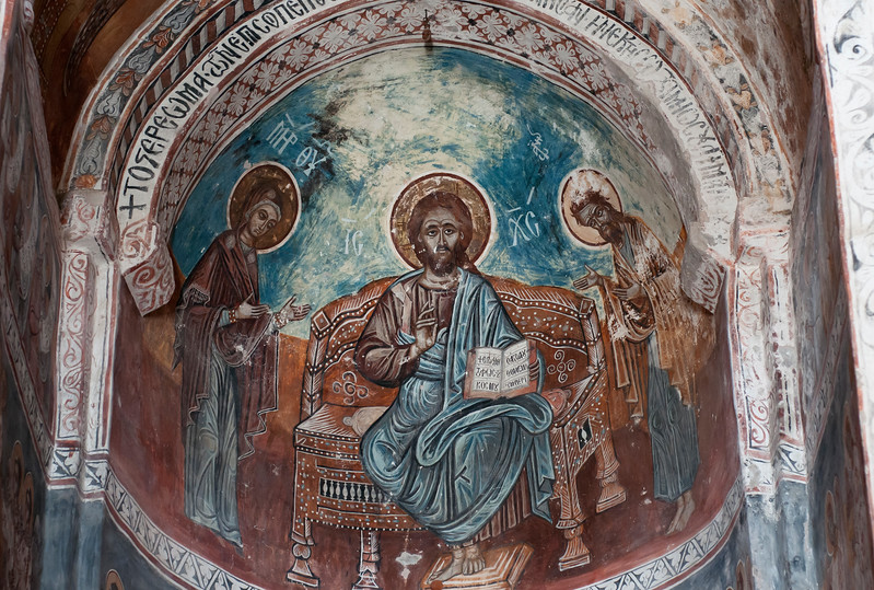 Frescoes inside Nikortsminda Cathedral, Orthodox Church in Racha region of Georgia