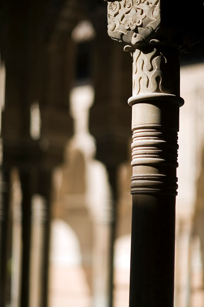 Column, Court of the Lions, Alhambra, Granada, Spain